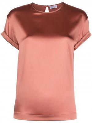 Атласная футболка с короткими рукавами Brunello Cucinelli. Цвет: розовый