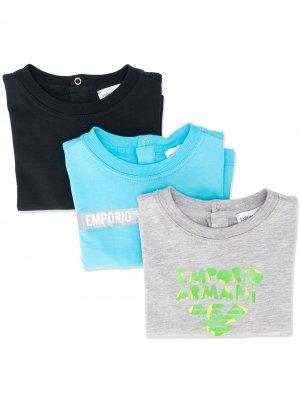 Комплект из трех футболок с короткими рукавами и логотипом Emporio Armani Kids. Цвет: синий