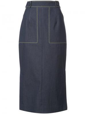 Джинсовая юбка миди Carolina Herrera. Цвет: синий