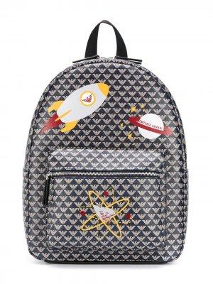 Рюкзак с принтом Emporio Armani Kids. Цвет: синий