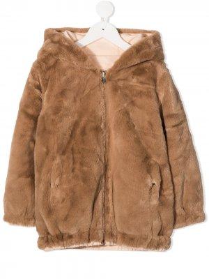 Куртка на молнии с капюшоном Chloé Kids. Цвет: коричневый