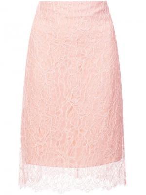 Кружевная юбка миди Nina Ricci. Цвет: розовый