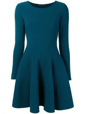 Короткое платье с узорчатой отделкой Antonino Valenti. Цвет: синий