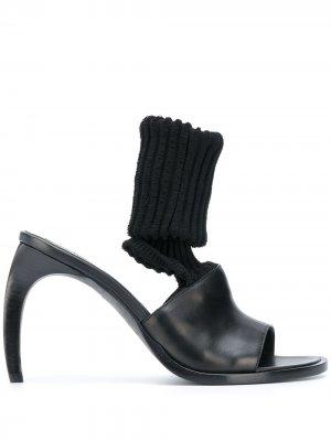 Босоножки-носки на скульптурном каблуке Ann Demeulemeester. Цвет: черный