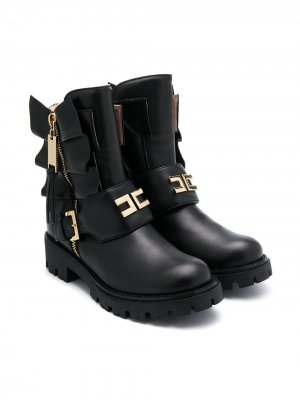 Ботинки с оборками Elisabetta Franchi La Mia Bambina. Цвет: черный