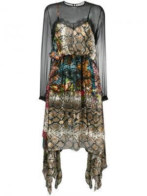 Прозрачное платье с принтом под змеиную кожу Preen By Thornton Bregazzi. Цвет: черный