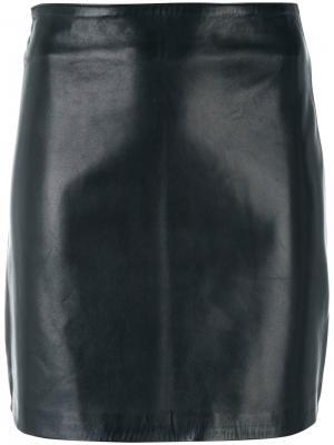 Облегающая кожаная юбка Manokhi. Цвет: черный