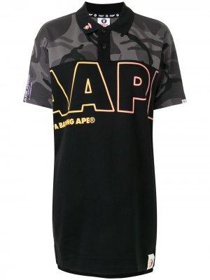 Рубашка поло с камуфляжным принтом и логотипом AAPE BY *A BATHING APE®. Цвет: черный