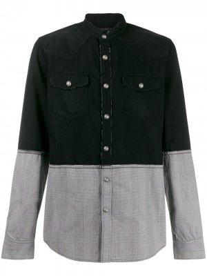 Двухцветная рубашка Balmain. Цвет: черный