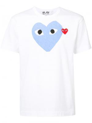 Футболка с изображением сердца Comme Des Garçons Play. Цвет: белый