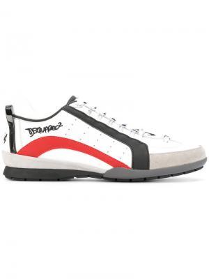 Кроссовки на шнуровке Dsquared2. Цвет: белый