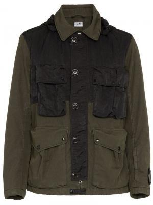 Куртка с капюшоном Goggle CP Company. Цвет: зеленый