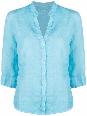 Рубашка с вырезом 120% Lino. Цвет: синий