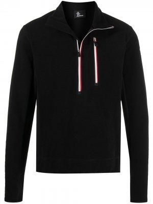 Флисовый пуловер с воротником на молнии Moncler Grenoble. Цвет: черный