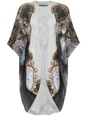 Халат-кимоно с принтом Kimberly Mcdonald. Цвет: серый