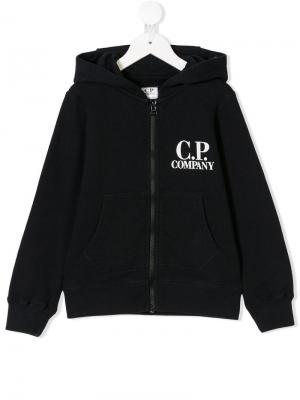 Logo print hoodie Cp Company Kids. Цвет: синий