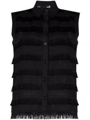 Блузка с бахромой Love Moschino. Цвет: черный