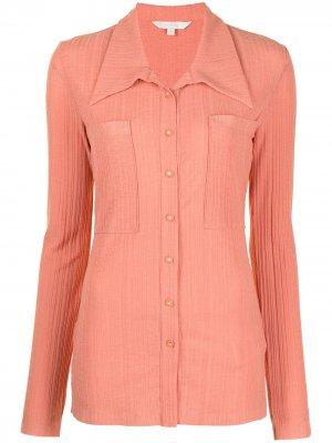 Рубашка узкого кроя в рубчик Low Classic. Цвет: оранжевый