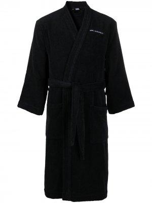 Халат с логотипом Karl Lagerfeld. Цвет: черный