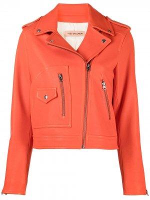 Укороченная байкерская куртка Yves Salomon. Цвет: оранжевый