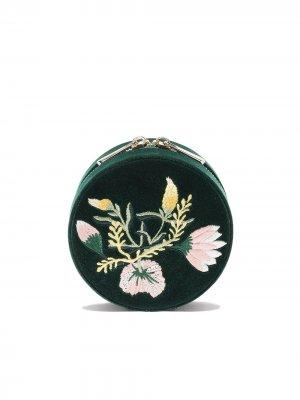 Круглая шкатулка с цветочной вышивкой WOLF. Цвет: forest green