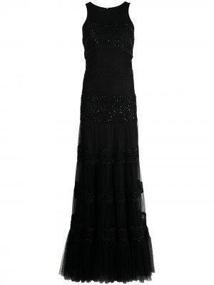Вечернее платье с вышивкой бисером Parlor. Цвет: черный