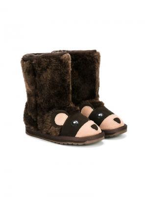 Сапоги в виде медведей Emu Kids. Цвет: коричневый