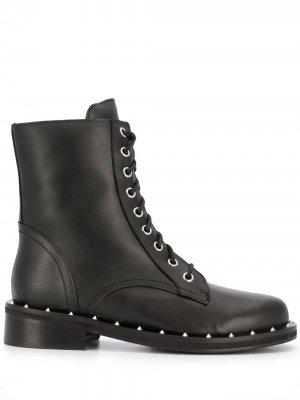 Ботинки на шнуровке с заклепками Patrizia Pepe. Цвет: черный