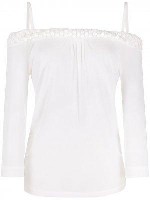 Блузка 1990-х годов с открытыми плечами и вышивкой Gianfranco Ferré Pre-Owned. Цвет: белый