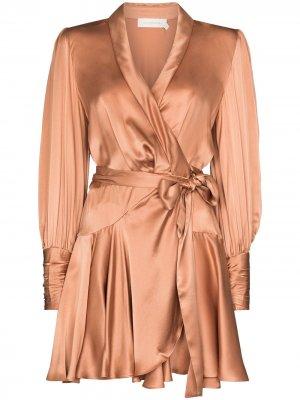 Платье с запахом Zimmermann. Цвет: нейтральные цвета