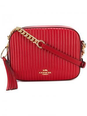 Стеганая сумка на плечо Coach. Цвет: красный
