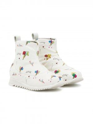 Ботинки с графичным принтом Giuseppe Junior. Цвет: белый