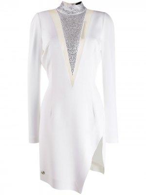 Коктейльное платье с кристаллами Philipp Plein. Цвет: белый