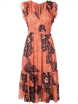 Платье миди с цветочной вышивкой Ulla Johnson. Цвет: оранжевый