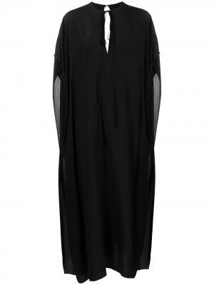 Платье-кейп с V-образным вырезом Victoria Beckham. Цвет: черный
