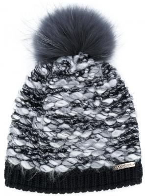 Текстурная шапка с помпоном из енотового меха Norton. Цвет: чёрный
