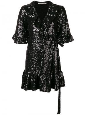 Платье мини с короткими рукавами и запахом Amen. Цвет: черный