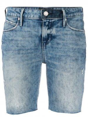 Джинсовые шорты с эффектом потертости RtA. Цвет: синий