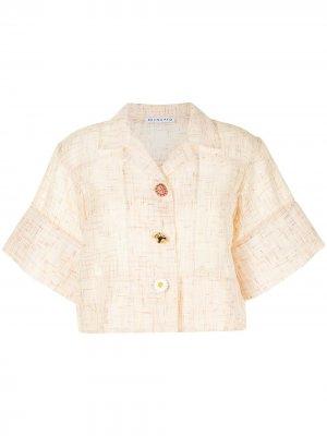 Укороченная рубашка с короткими рукавами Rejina Pyo. Цвет: желтый