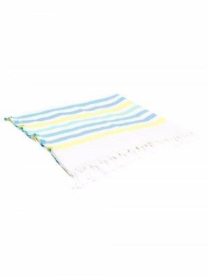 Пляжное полотенце Foutas в полоску с вышитым логотипом Mc2 Saint Barth. Цвет: белый