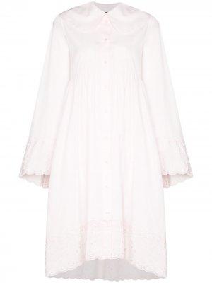Платье-рубашка с кружевом Simone Rocha. Цвет: розовый