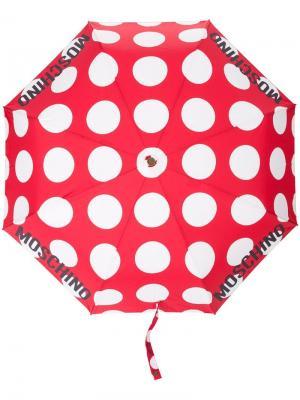 Зонт в горох Moschino. Цвет: красный