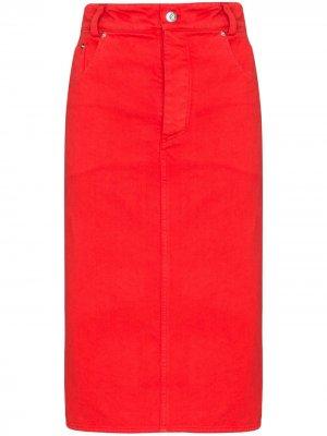 Джинсовая юбка-карандаш Kwaidan Editions. Цвет: красный
