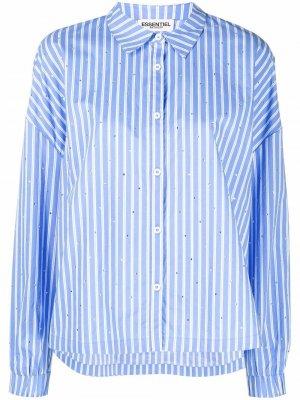 Полосатая рубашка с кристаллами Essentiel Antwerp. Цвет: синий