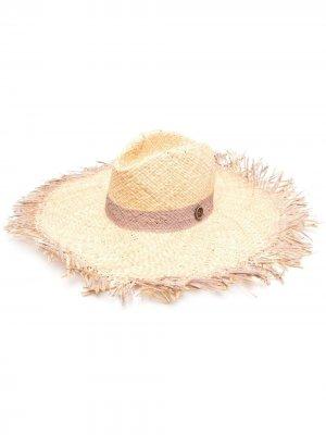 Плетеная шляпа с бахромой catarzi. Цвет: нейтральные цвета