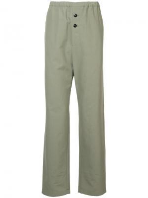 Прямые брюки с эластичной талией Jil Sander. Цвет: зеленый