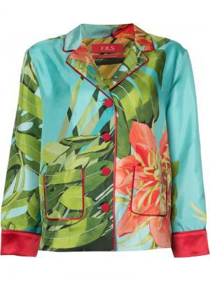Пижамная рубашка с принтом папоротника F.R.S For Restless Sleepers. Цвет: синий