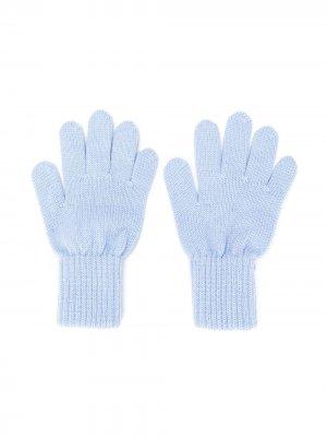 Перчатки с окантовкой в рубчик Siola. Цвет: синий