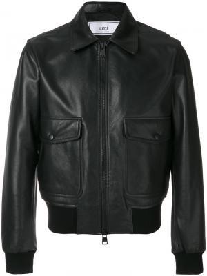 Кожаная куртка на молнии Ami Alexandre Mattiussi. Цвет: черный