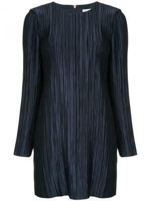 Плиссированное платье мини Tibi. Цвет: синий